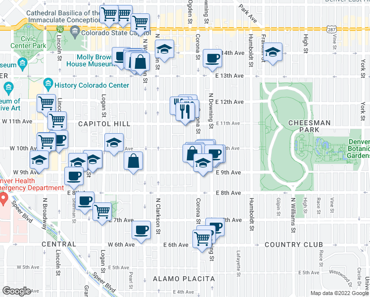 map of restaurants, bars, coffee shops, grocery stores, and more near East 10th Avenue & Ogden Street in Denver