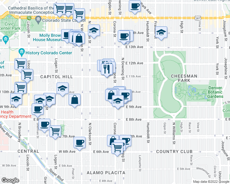 map of restaurants, bars, coffee shops, grocery stores, and more near E 10th Ave & Corona St in Denver