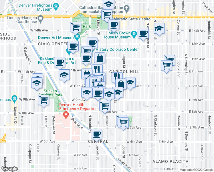 map of restaurants, bars, coffee shops, grocery stores, and more near East 10th Avenue & Sherman Street in Denver