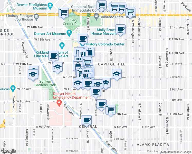 map of restaurants, bars, coffee shops, grocery stores, and more near E 10th Ave & Sherman St in Denver
