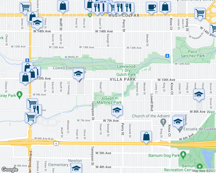 map of restaurants, bars, coffee shops, grocery stores, and more near Raleigh Street in Denver