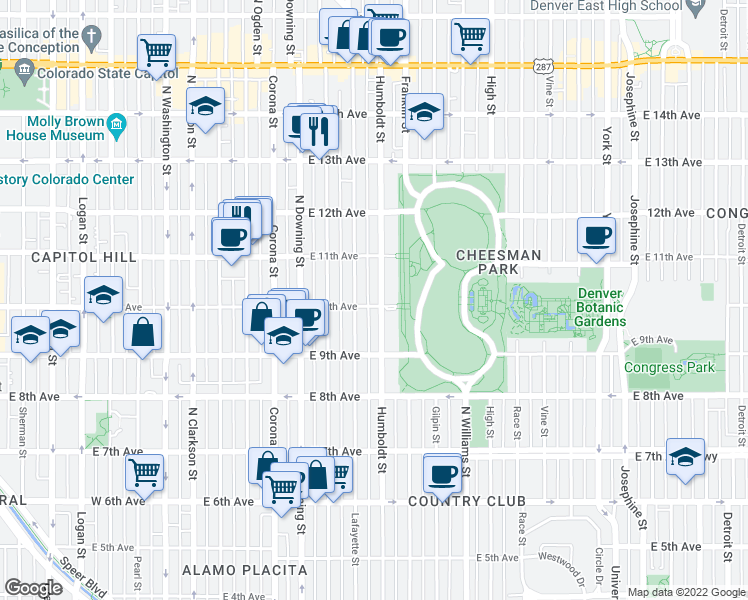 map of restaurants, bars, coffee shops, grocery stores, and more near 1011 Humboldt Street in Denver