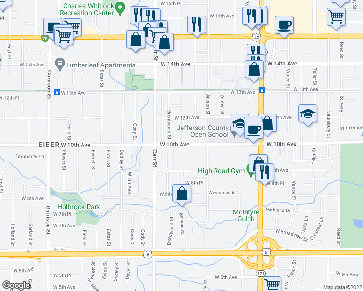 map of restaurants, bars, coffee shops, grocery stores, and more near 1025 Balsam Street in Denver