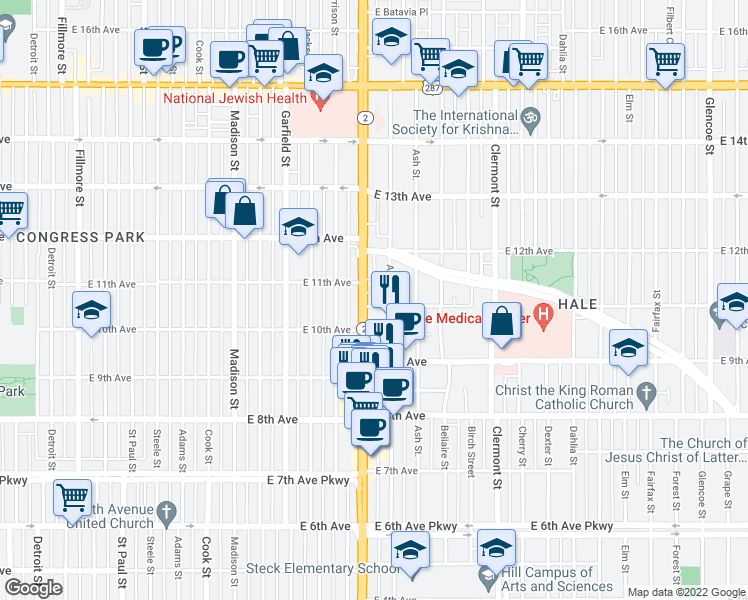 map of restaurants, bars, coffee shops, grocery stores, and more near 1100 Colorado Boulevard in Denver