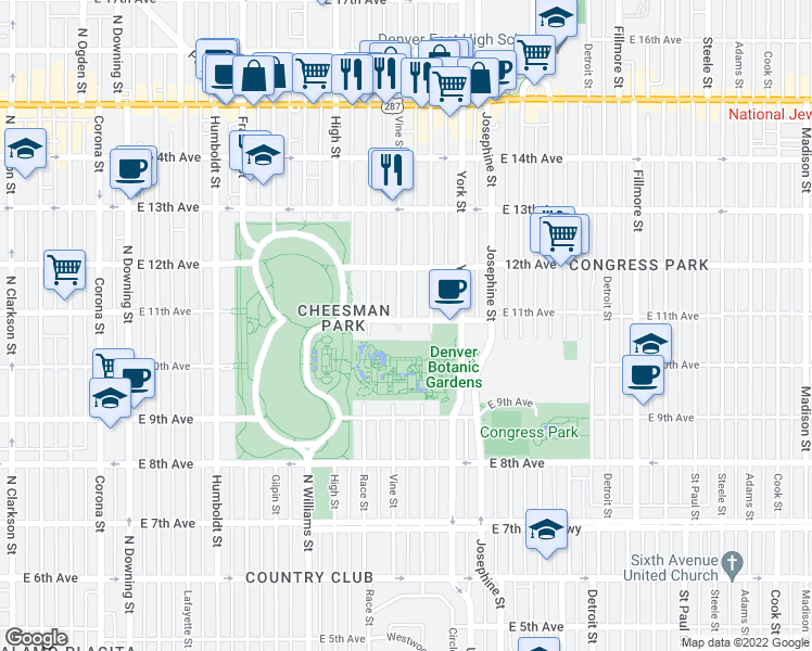 map of restaurants, bars, coffee shops, grocery stores, and more near 2190 East 11th Avenue in Denver