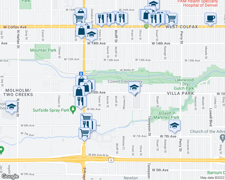 map of restaurants, bars, coffee shops, grocery stores, and more near 4825 West 10th Avenue in Denver