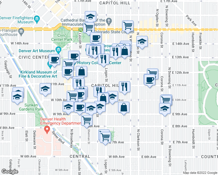 map of restaurants, bars, coffee shops, grocery stores, and more near 1080 Logan St in Denver