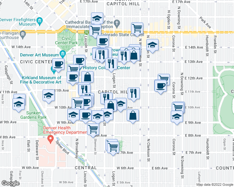 map of restaurants, bars, coffee shops, grocery stores, and more near 1080 Logan Street in Denver