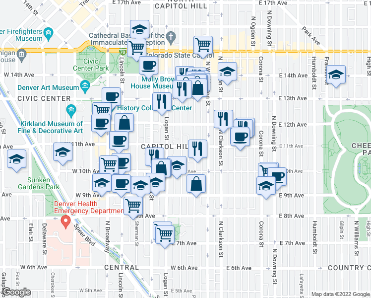map of restaurants, bars, coffee shops, grocery stores, and more near 500 East 11th Avenue in Denver