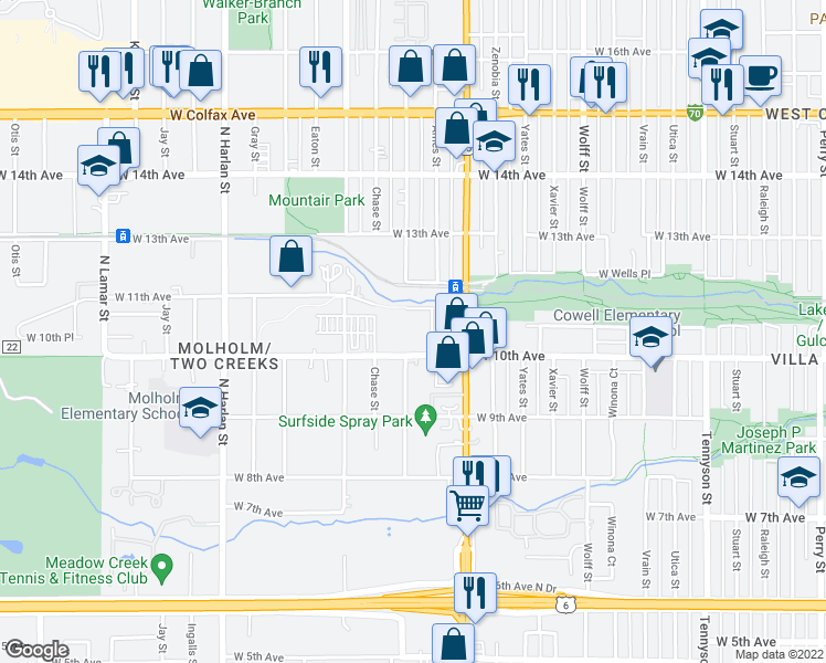 map of restaurants, bars, coffee shops, grocery stores, and more near 5375 West 10th Avenue in Denver