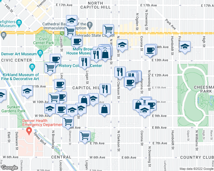 map of restaurants, bars, coffee shops, grocery stores, and more near 611 East 11th Avenue in Denver