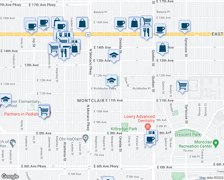 map of restaurants, bars, coffee shops, grocery stores, and more near 1151 Newport Street in Denver