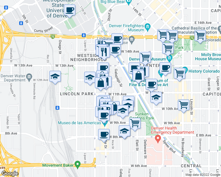 map of restaurants, bars, coffee shops, grocery stores, and more near 1150 Inca Street in Denver