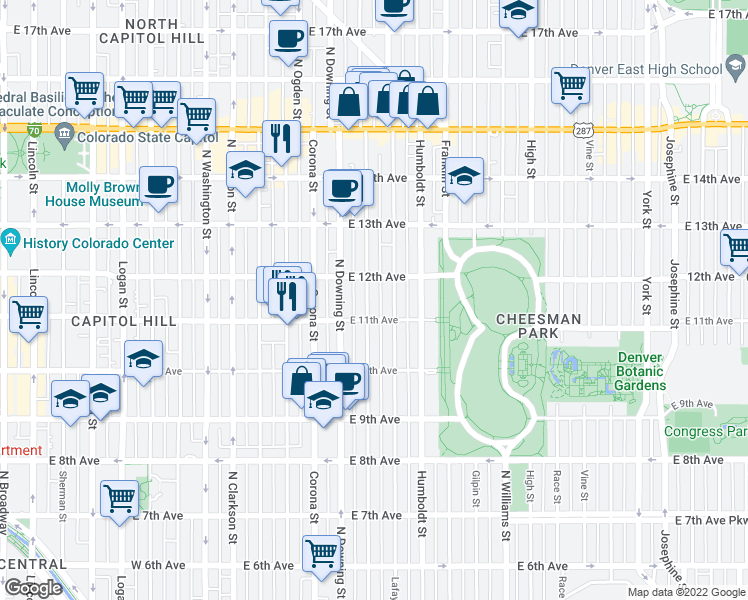 map of restaurants, bars, coffee shops, grocery stores, and more near 1138 North Marion Street in Denver