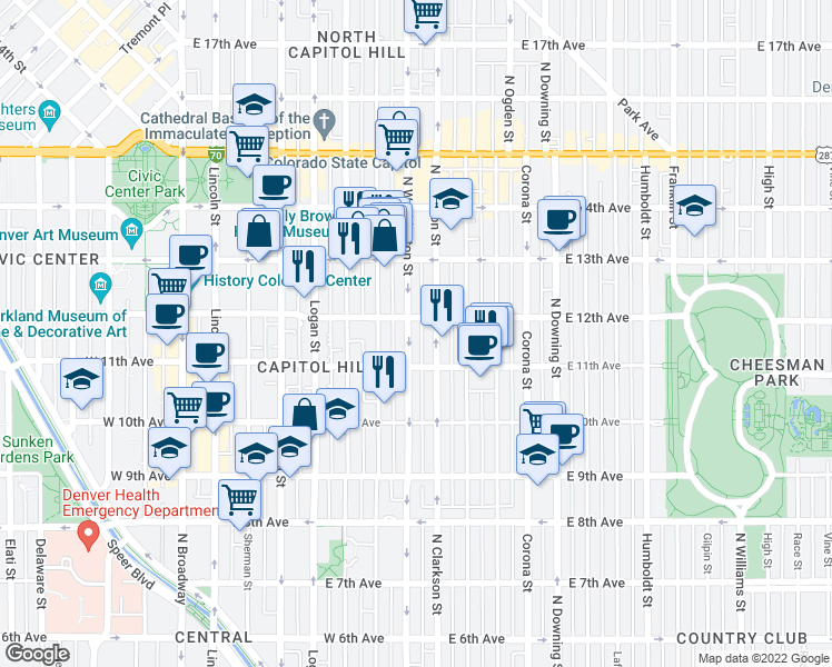 map of restaurants, bars, coffee shops, grocery stores, and more near 1148 Washington Street in Denver