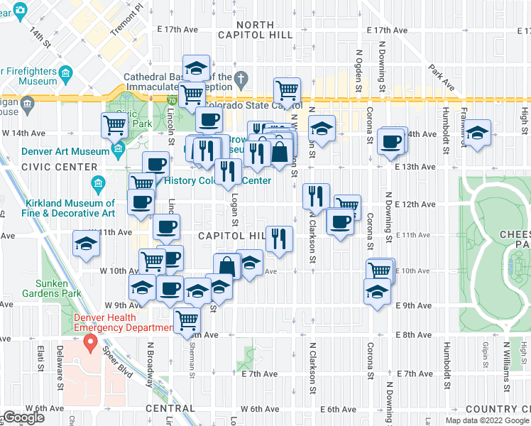 map of restaurants, bars, coffee shops, grocery stores, and more near 550 East 12th Avenue in Denver