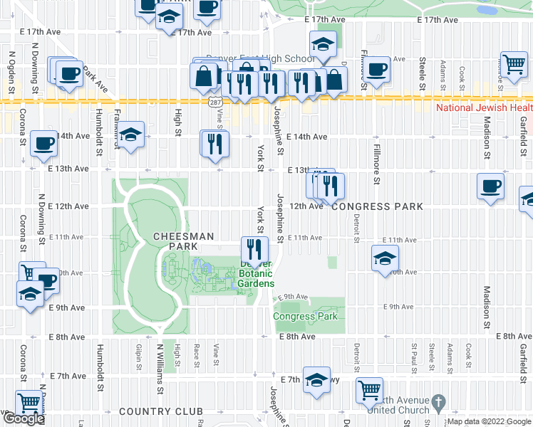 map of restaurants, bars, coffee shops, grocery stores, and more near 1172 York Street in Denver