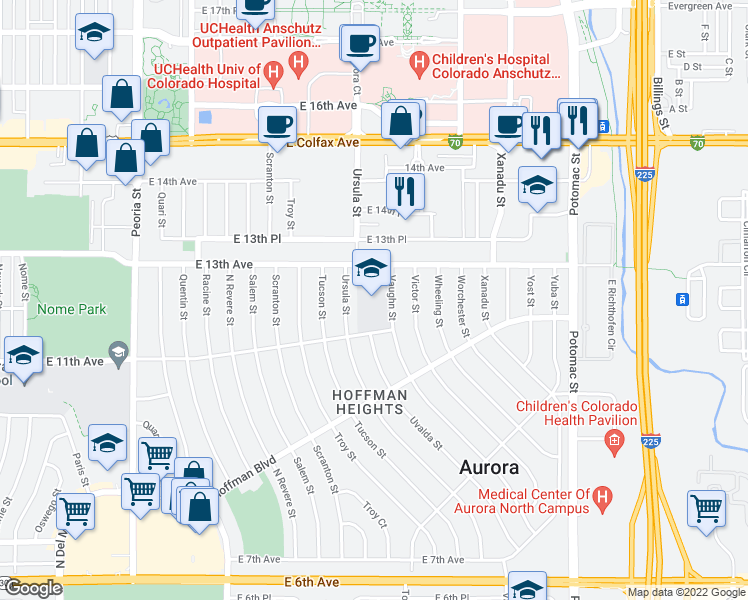 map of restaurants, bars, coffee shops, grocery stores, and more near 1171-1243 Vaughn Street in Aurora