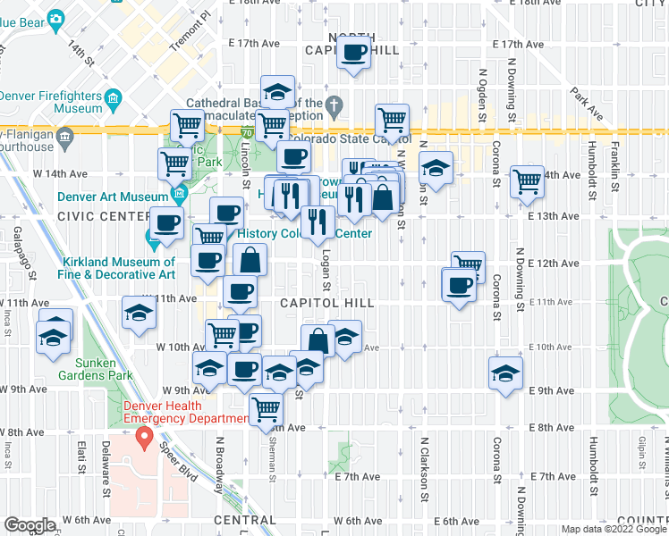 map of restaurants, bars, coffee shops, grocery stores, and more near 1170 Logan Street in Denver