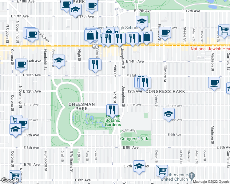 map of restaurants, bars, coffee shops, grocery stores, and more near York Street & East 12th Avenue in Denver