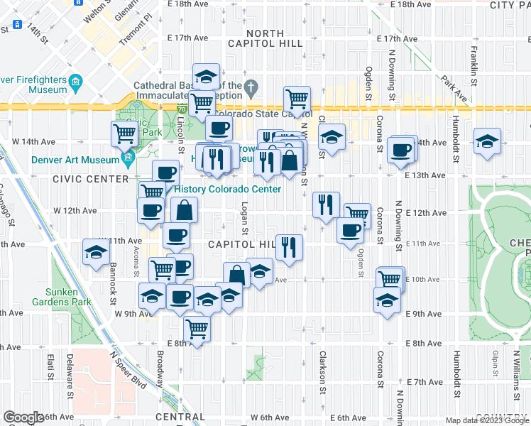 East 12th Avenue & Pennsylvania Street, Denver CO - Walk Score Denver Pennsylvania Map on