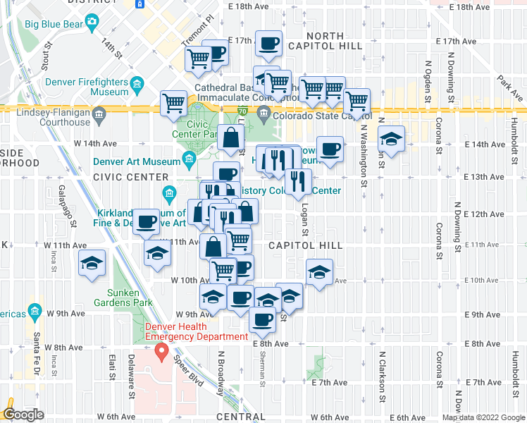 map of restaurants, bars, coffee shops, grocery stores, and more near E 12th Ave & Sherman St in Denver