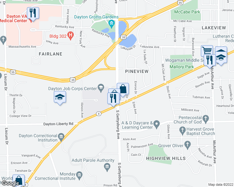 map of restaurants, bars, coffee shops, grocery stores, and more near 829 South Gettysburg Avenue in Dayton