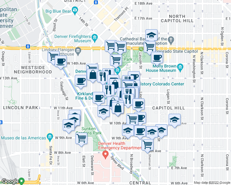 map of restaurants, bars, coffee shops, grocery stores, and more near 123 West 12th Avenue in Denver