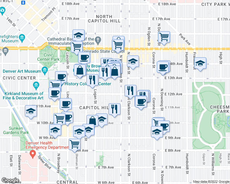 map of restaurants, bars, coffee shops, grocery stores, and more near 1200 Pearl Street in Denver