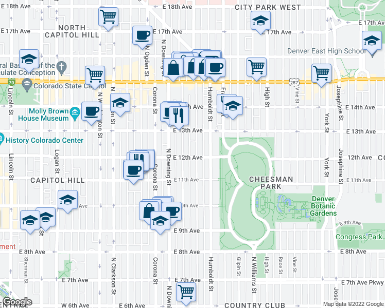 map of restaurants, bars, coffee shops, grocery stores, and more near 1321 East 12th Avenue in Denver