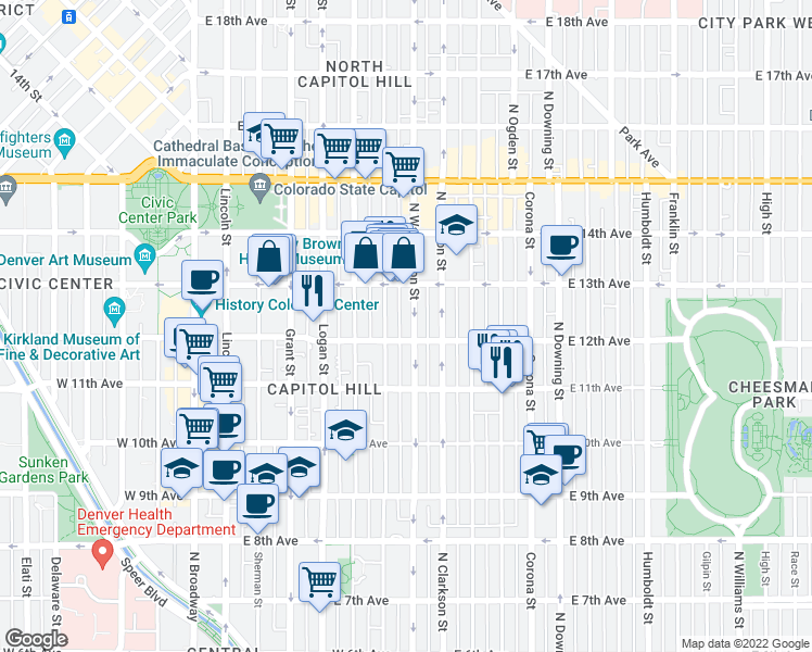 map of restaurants, bars, coffee shops, grocery stores, and more near 1221 North Washington Street in Denver
