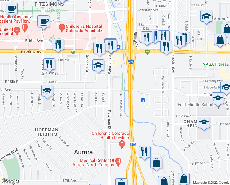 map of restaurants, bars, coffee shops, grocery stores, and more near 13711 East Richthofen Circle in Aurora