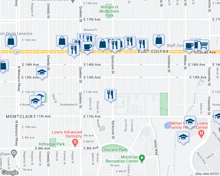 map of restaurants, bars, coffee shops, grocery stores, and more near 1221 Syracuse Street in Denver
