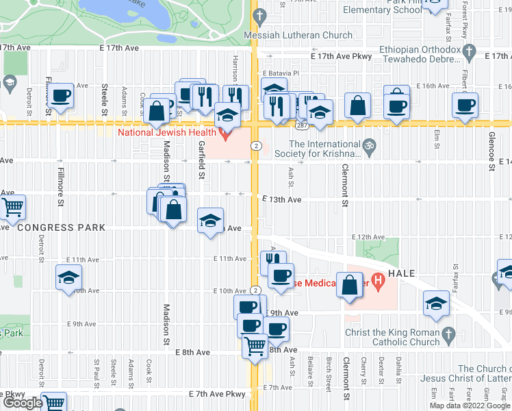 map of restaurants, bars, coffee shops, grocery stores, and more near 1284 Highway 2 in Denver