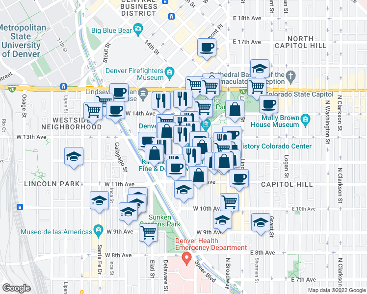 map of restaurants, bars, coffee shops, grocery stores, and more near 1250 Cherokee Street in Denver