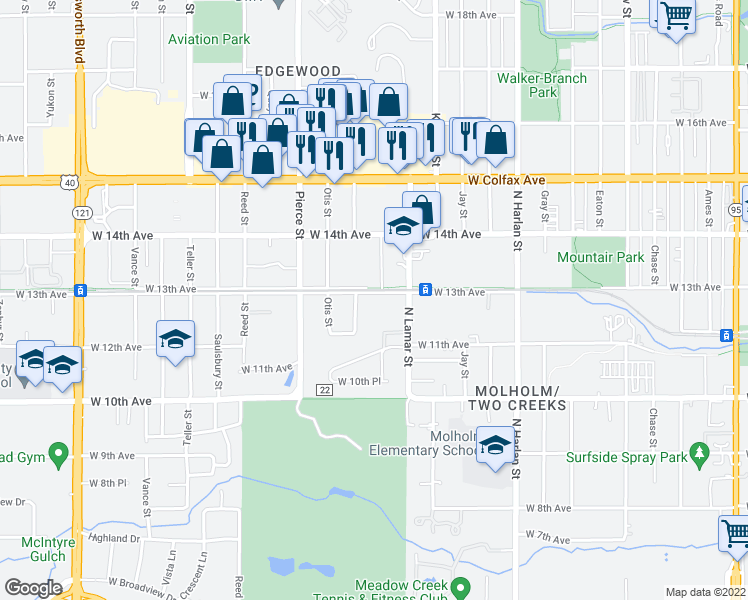 map of restaurants, bars, coffee shops, grocery stores, and more near 6500 West 13th Avenue in Lakewood