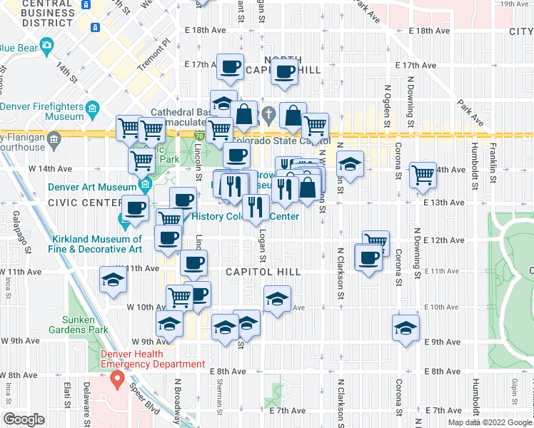 map of restaurants, bars, coffee shops, grocery stores, and more near 1270 Logan Street in Denver