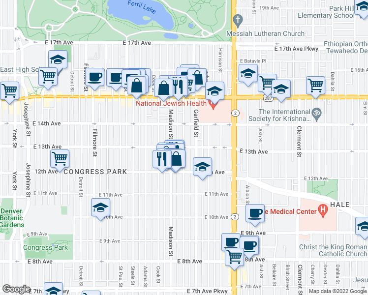 map of restaurants, bars, coffee shops, grocery stores, and more near E 13th Ave & Monroe St in Denver