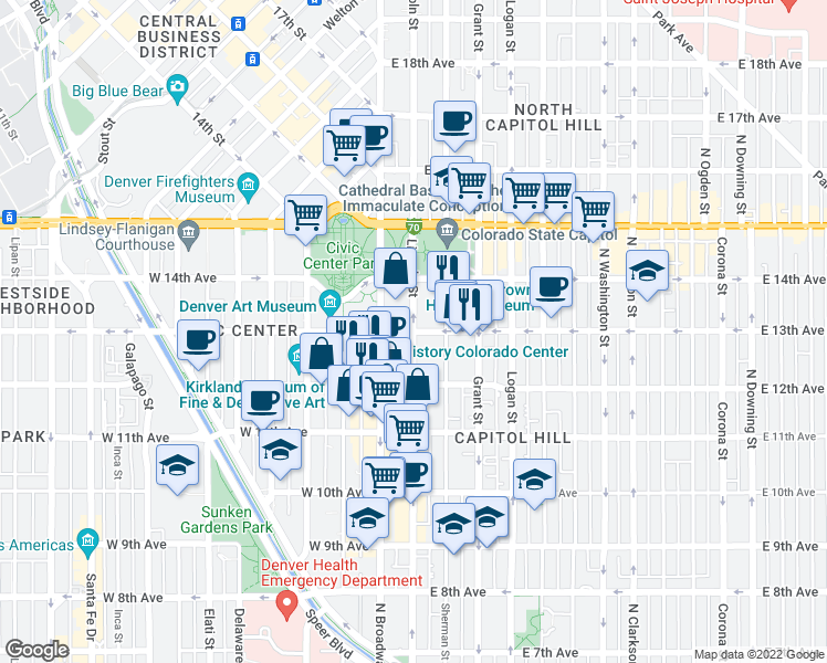 map of restaurants, bars, coffee shops, grocery stores, and more near E 13th Ave & Lincoln St in Denver
