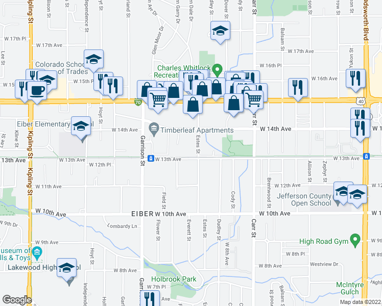 map of restaurants, bars, coffee shops, grocery stores, and more near 8801-8899 West 13th Avenue in Lakewood