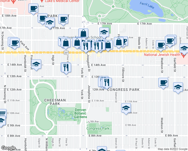 map of restaurants, bars, coffee shops, grocery stores, and more near 1303 Columbine Street in Denver