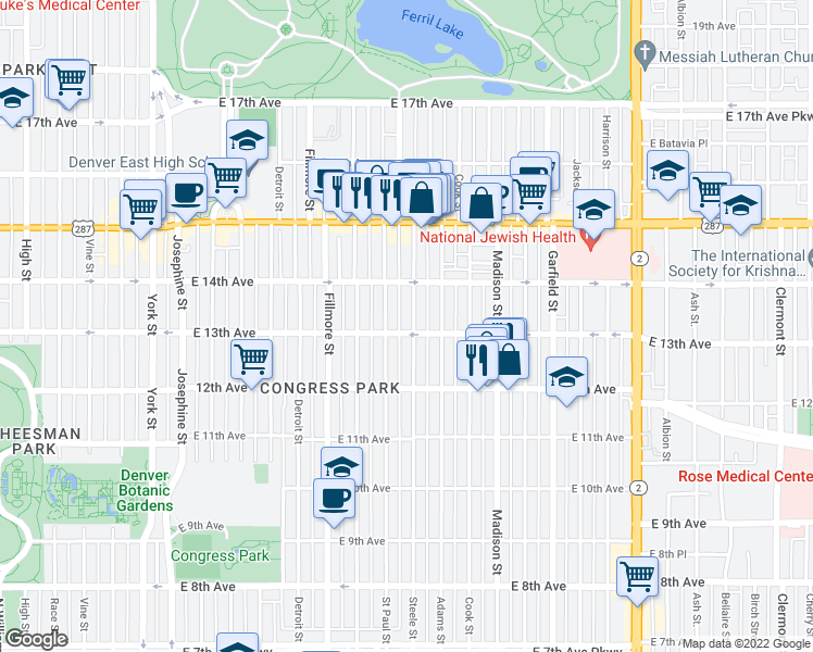 map of restaurants, bars, coffee shops, grocery stores, and more near 1313 Steele Street in Denver