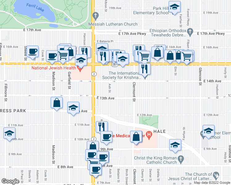map of restaurants, bars, coffee shops, grocery stores, and more near 1331 Bellaire Street in Denver