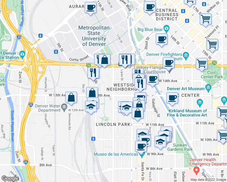 map of restaurants, bars, coffee shops, grocery stores, and more near 1379 Mariposa Street in Denver
