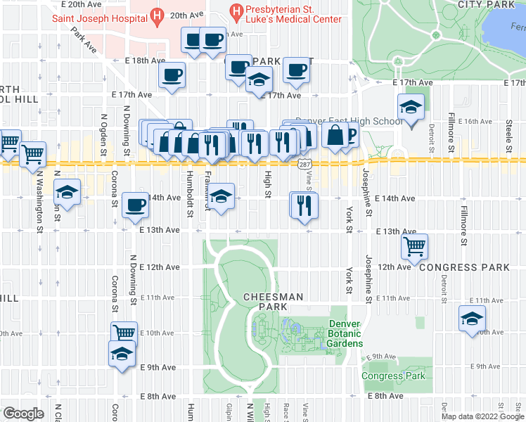 map of restaurants, bars, coffee shops, grocery stores, and more near 1345 North High Street in Denver