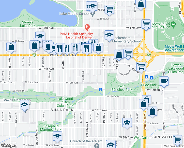 map of restaurants, bars, coffee shops, grocery stores, and more near 1370 Lowell Boulevard in Denver