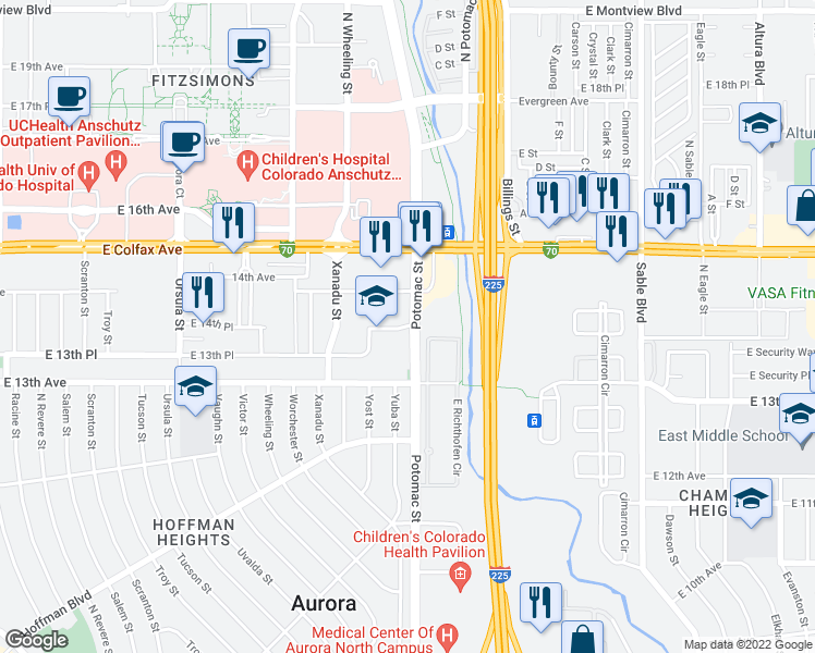 map of restaurants, bars, coffee shops, grocery stores, and more near 13675 East 14th Avenue in Aurora