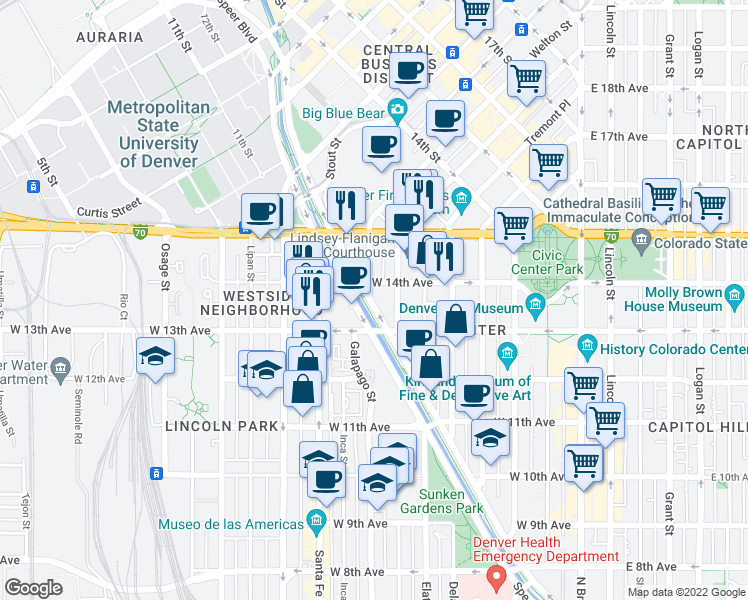 map of restaurants, bars, coffee shops, grocery stores, and more near 1350 Speer Boulevard in Denver