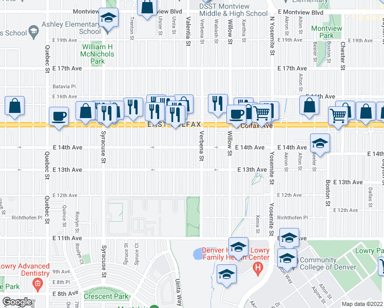 map of restaurants, bars, coffee shops, grocery stores, and more near 1350 Valentia St in Denver