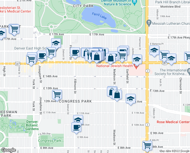 map of restaurants, bars, coffee shops, grocery stores, and more near East 14th Avenue & Steele Street in Denver